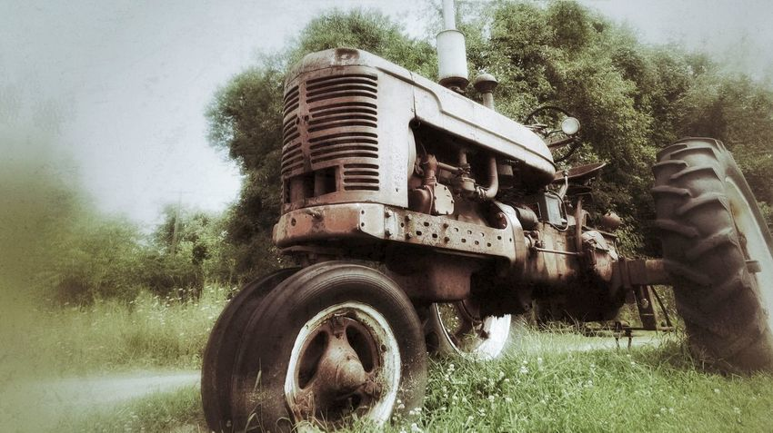 Seen Better Days Old Tractor In Field Rusty Old Machine Weeds