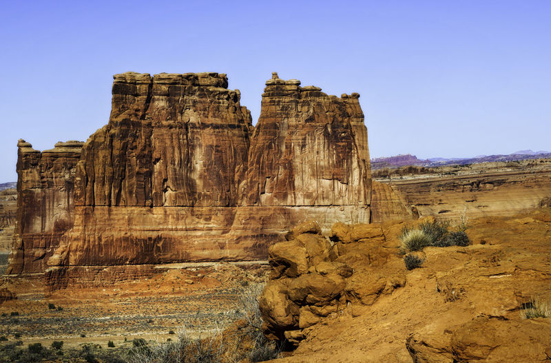 View of rock formations against clear sky