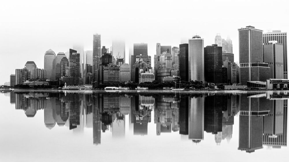 MIRROR () RORRIM Landscape Photography Landscape_Collection Landscape Amazing View Amazing Soon New York Bay New York Skyline  New York Mirror Effect Mirror Reflection Foggy Morning Over The Water Foggy Morning Foggy Fog Building Exterior Building Architecture Water Built Structure City Waterfront Tall - High Clear Sky No People Modern Reflection Urban Skyline #urbanana: The Urban Playground