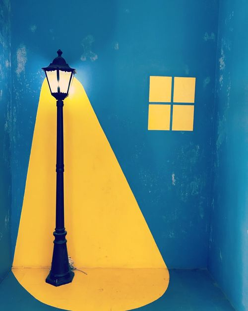 Not,.... Decoration Painting Wall Art No People Yellow Lighting Equipment Communication Sign Blue Outdoors