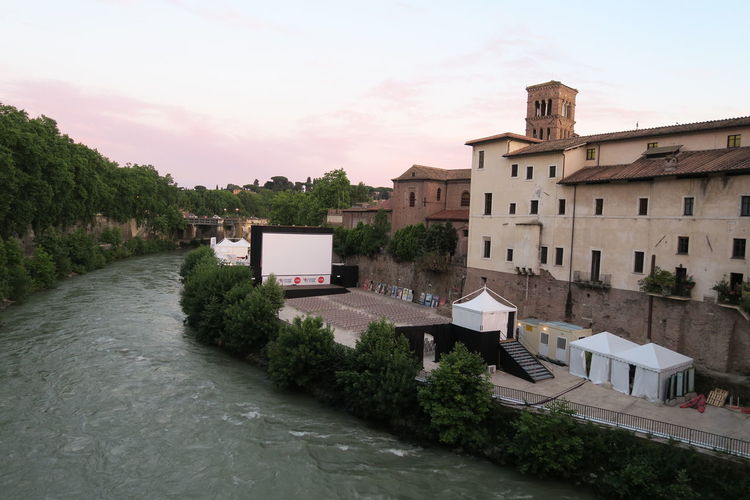 High angle view of river by building at tiber island
