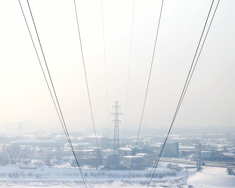 W Power Line  Wires Wires In The Sky Wires And Sky Wires Up The Sky Kemerovo Siberia Winter Wintertime Haze Mist Technology Connection No People Day Symmetry Outdoors
