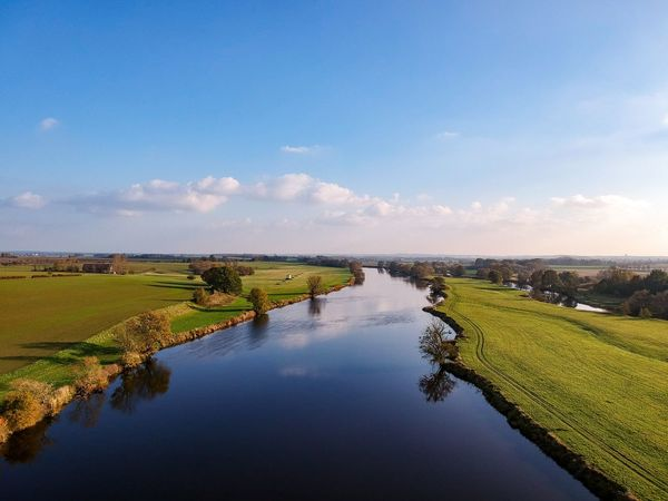 Aerial Shot Aerial View Mulde River River Water Tranquil Scene Nature Beauty In Nature Scenics Sky Tranquility No People Outdoors Reflection Landscape Field Blue