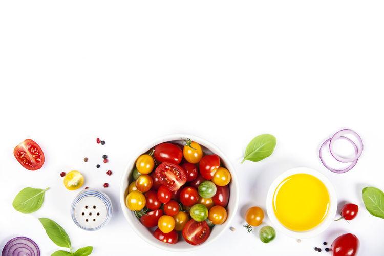 Vegetables against white background