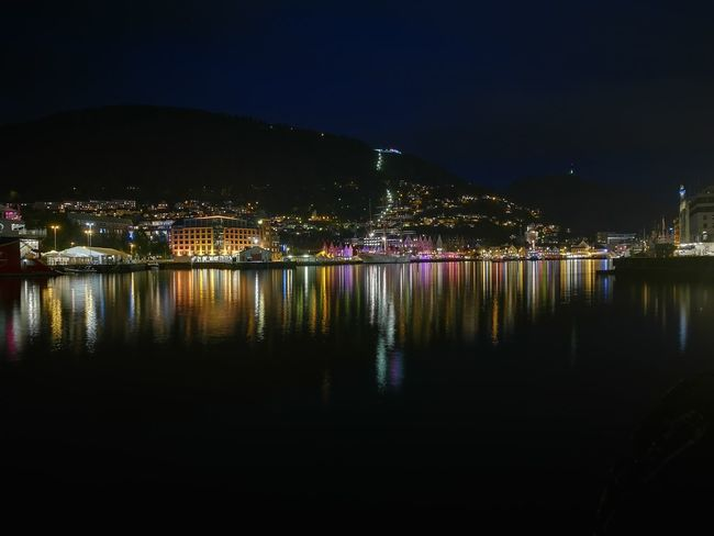 Bergen,Norway Reflection Night Outdoors Cityscape City Building Exterior Architecture Sea Water Norway Nightlife Huawei