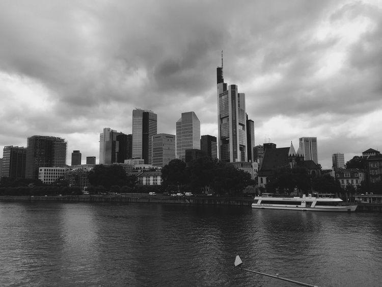 Frankfurt Am Main Germany Mainhattan Blackandwhite