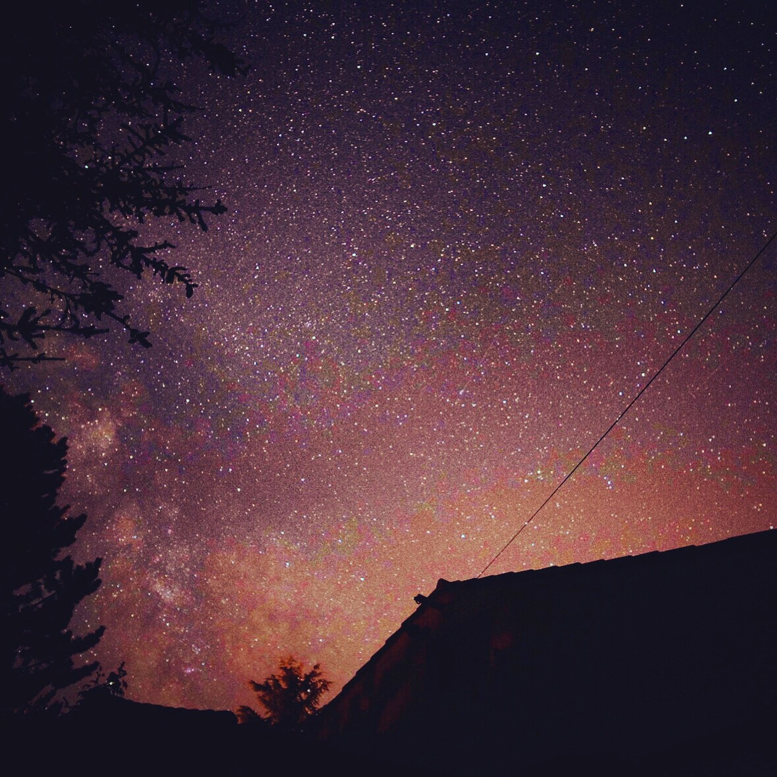 night, star - space, star field, astronomy, low angle view, sky, galaxy, star, scenics, beauty in nature, tranquil scene, space, infinity, nature, tree, tranquility, dark, idyllic, constellation, majestic, no people, outdoors, illuminated, landscape, weather, aurora borealis, star trail, remote, non-urban scene