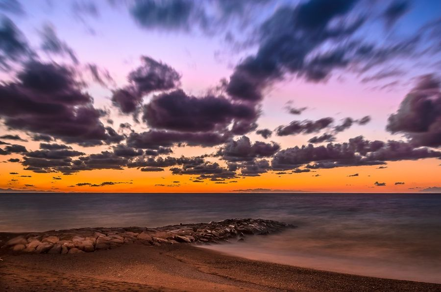 Sicily Nikonphotography Nikon Sunset Beauty In Nature Scenics Nature Tranquility Sea Sky Water Tranquil Scene Horizon Over Water Cloud - Sky Beach Outdoors No People Yellow Day