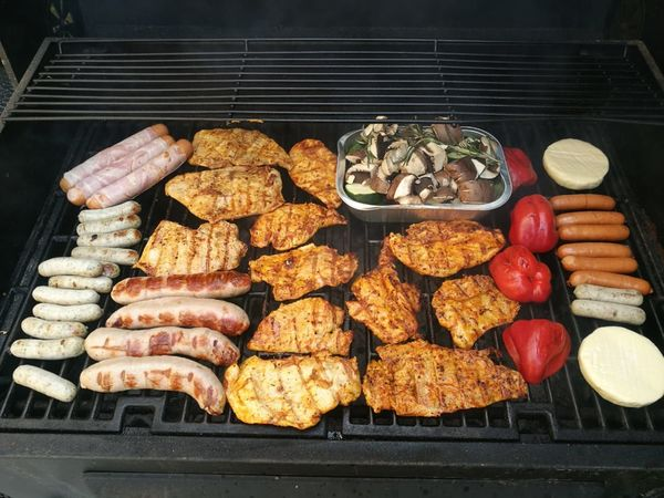 Sausage Barbecue Meat Variation Directly Above Grilled Preparation  Vegetable Barbecue Grill Food And Drink
