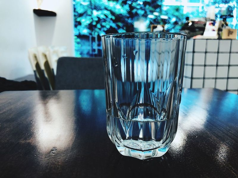 Glass Table Household Equipment Close-up Focus On Foreground Indoors  Water