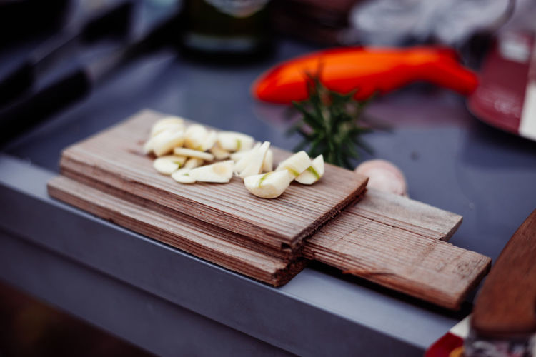 Close-up of chopped vegetables on cutting board