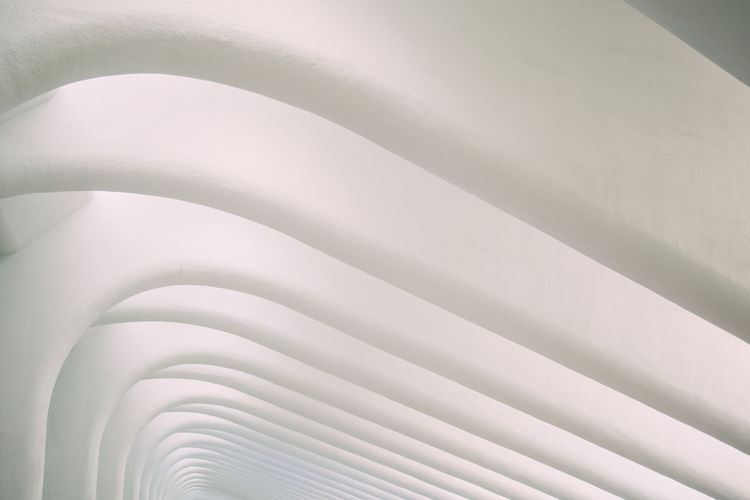 Bright Calatrava Modern Oculus World Trade Center Transportation Hub Architecture Ceiling Close-up Shape Train Station White