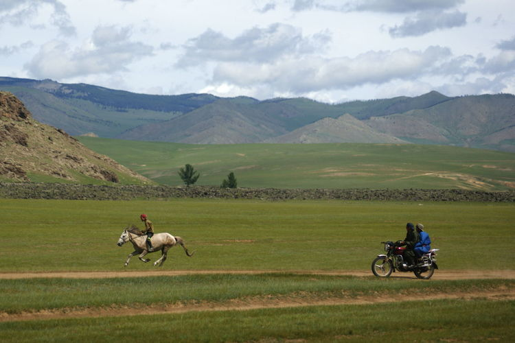 Mongolia Animal Animal Themes Cloud - Sky Environment Horse Racing Landscape Mammal Mountain Mountain Range Outdoors Riding Scenics - Nature Steppe Монгол улс