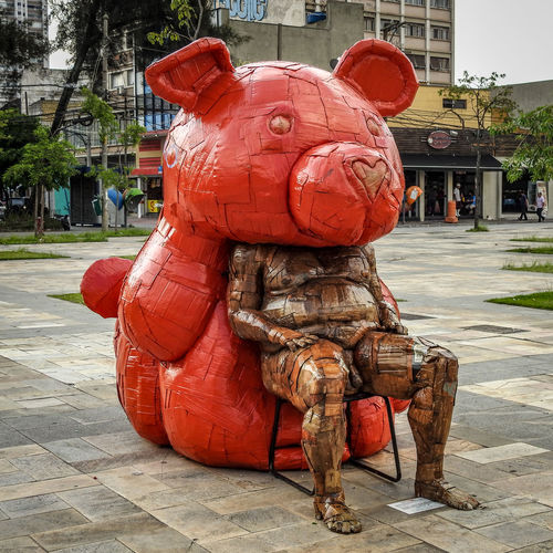 Art Artistic Bear Fat Red Bear Sculpture Streetart Streetartphotography Urban Sculpture