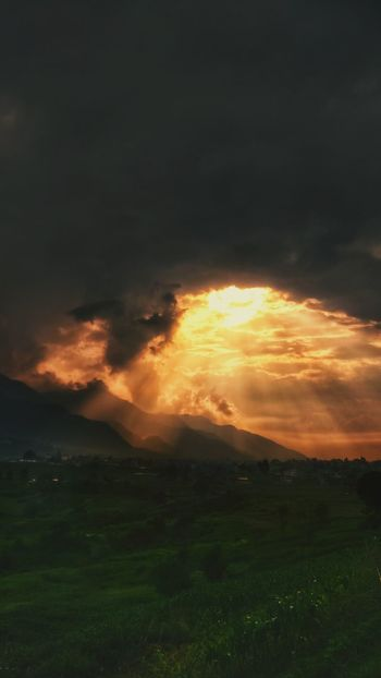 Dramatic Sky Nature Sunset Cloud - Sky Beauty In Nature Outdoors Extreme Weather Scenics Sky Landscape No People Grass Storm Cloud Power In Nature Day Eyeemnepal Clouds Clouds And Sky Colors Punchy Colors Green Yellow Grass Hills Lights And Shadows