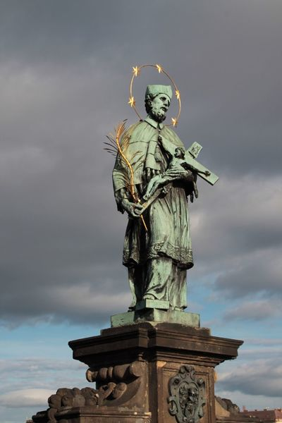 Saint John Of Nepomuk Charles Bridge Prague Autumn Statue Saints Nepomuceno Charles Bridge,Praha Art History Historic Martyr Blue Sky Statues Statues And Monuments Hanging Out Check This Out Tourism Tourist Attraction  Tourist Destination Enjoying Life Taking Photos