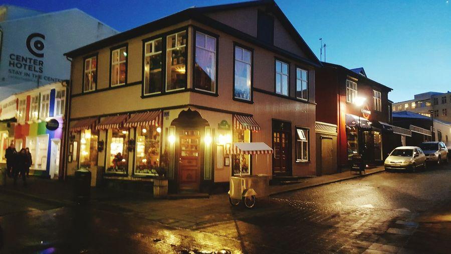 Night Architecture Street Sidewalk Iceland Reykjavik Le Bistro