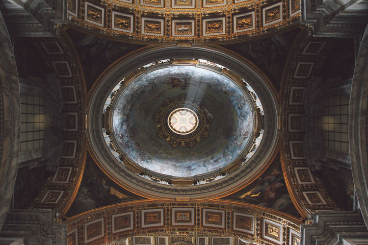 Directly below shot of basilica ceiling