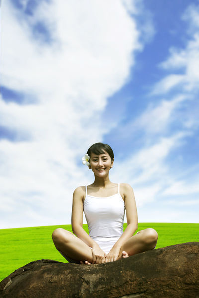 Athlete Balance Cloud - Sky Confidence  Day Full Length Grass Healthy Lifestyle Landscape Lotus Position Nature One Person Outdoors People Portrait Serene People Sitting Sky Smiling Summer Tranquil Scene Tranquility Wellbeing Yoga Zen-like