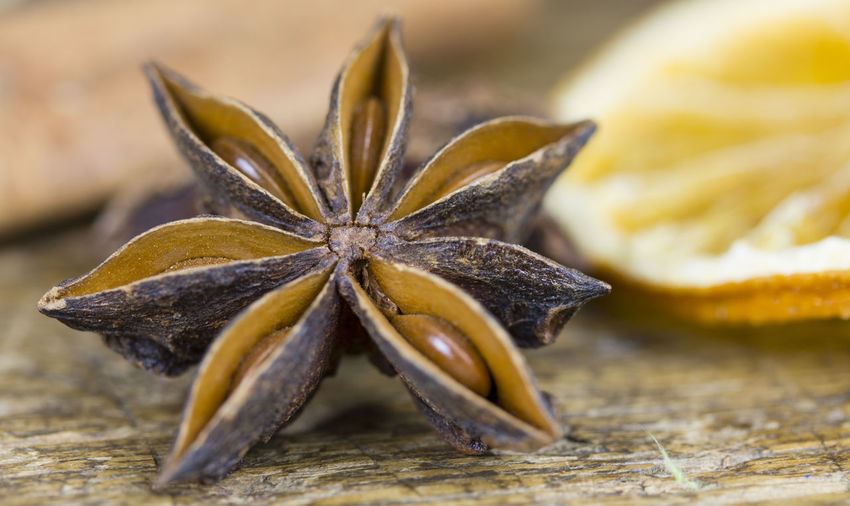Close-up of star anise on table