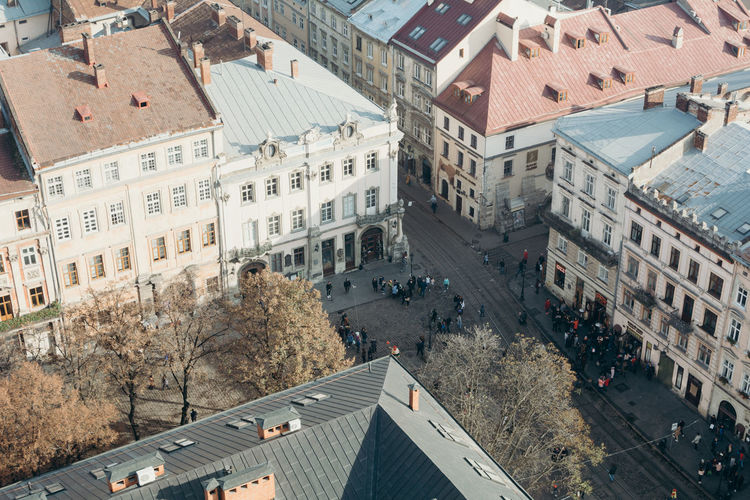 Lviv City Cityscape Street Residential Building Road High Angle View Architecture Building Exterior Built Structure Sky City Location Building Story Road Marking Townhouse Town Square