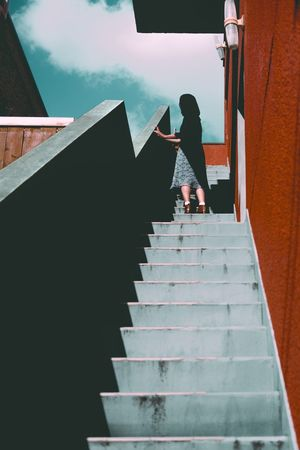 Afternoon Staircase Steps Steps And Staircases Moving Up Landscape Women Built Structure Architecture Standing Lifestyles Fujifilm_xseries EyeEm Best Shots Fujifilm Architecture Photography Street Colors Orange