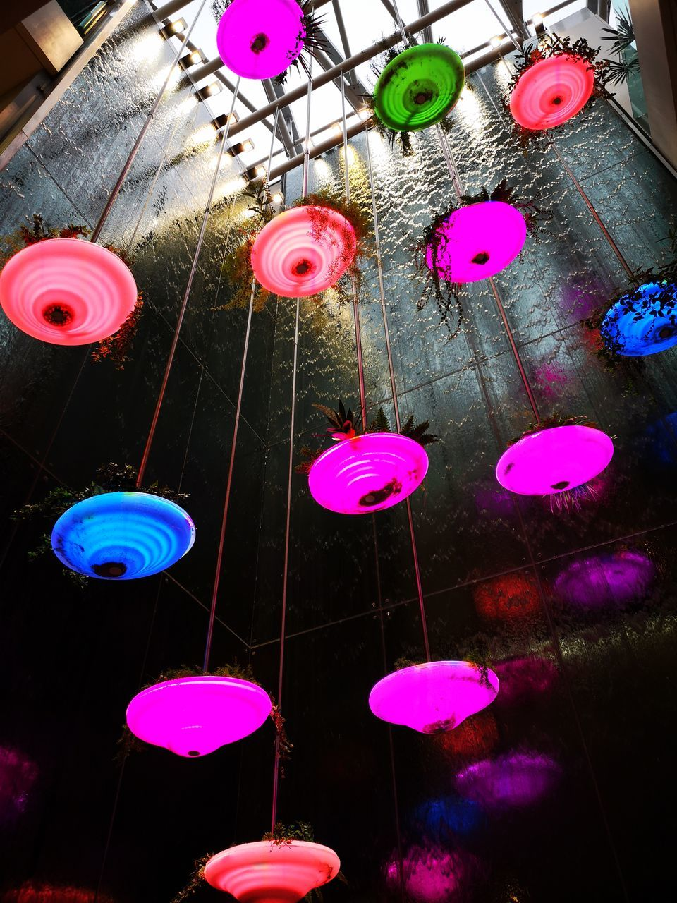 LOW ANGLE VIEW OF MULTI COLORED LIGHTS HANGING