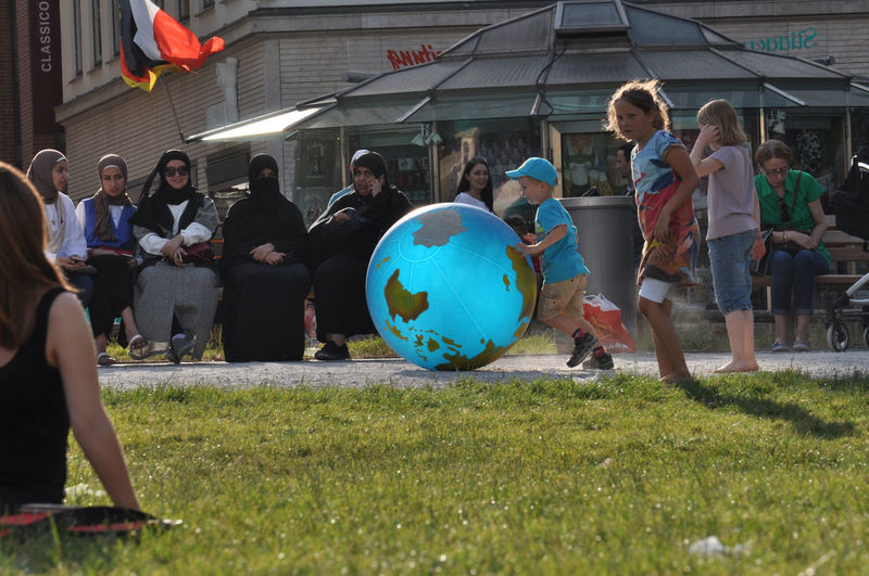 One World Boy Burka  Burkah Casual Clothing Child City Life Competitive Sport Day Enjoyment Fun Grass Group Of People Large Group Of People Leisure Activity Lifestyles Medium Group Of People Men Mixed Age Range Outdoors Playing Sport World