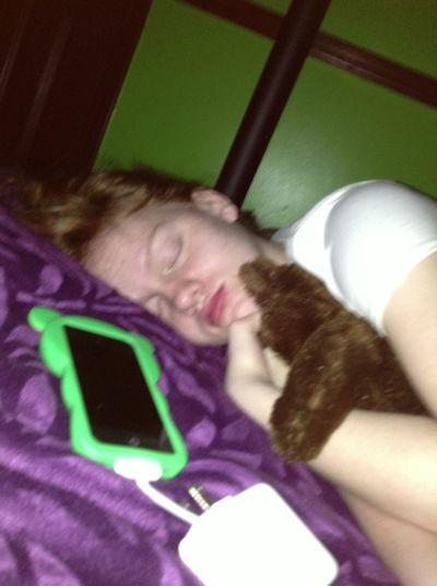 She Sleeping With A Teddy Bear