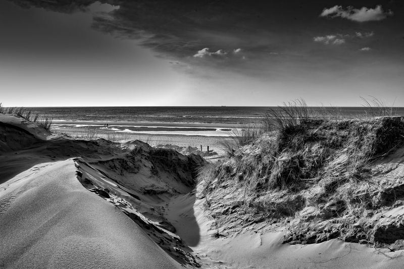 Sanddunes Beach Beauty In Nature Black And White Clouds And Sky Horizon Over Water Outdoors Sanddunes Sea