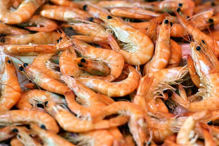 Close-Up Of Shrimps For Sale At Market