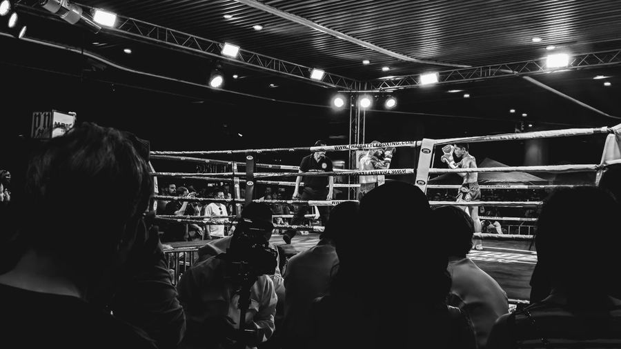 Boxing 🥊 (Monochrome) Stage - Performance Space Boxing Fighting Sport Thailand MuyThai Thaiboxing  Audience Stage - Performance Space Crowd