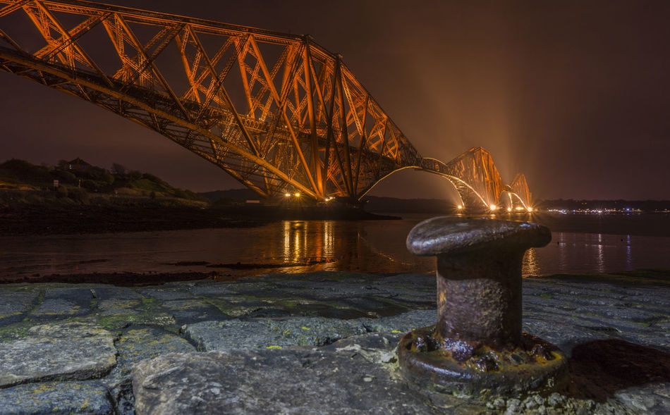The Forth Bridge from North Queensferry Architecture Bollard Bridge Edinburgh Fife  Forth Forth Bridge Forth Estuary Forth Rail Bridge Forth Railway Bridge Night North Queensferry Outdoors Pile Quay Quayside Queensferry  River Forth Scenery Scotland Scottish Spile Water