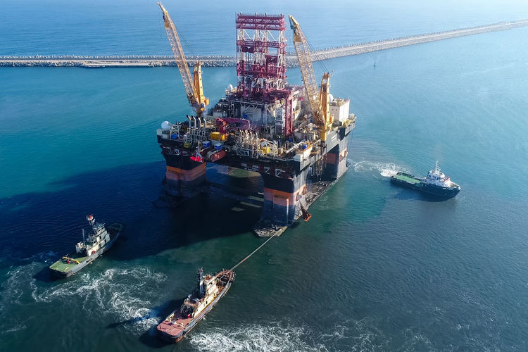Water Sea Nautical Vessel Transportation Ship Nature Mode Of Transportation Industry No People High Angle View Offshore Platform Oil Industry Outdoors Day Fuel And Power Generation Container Freight Transportation Fossil Fuel Motion