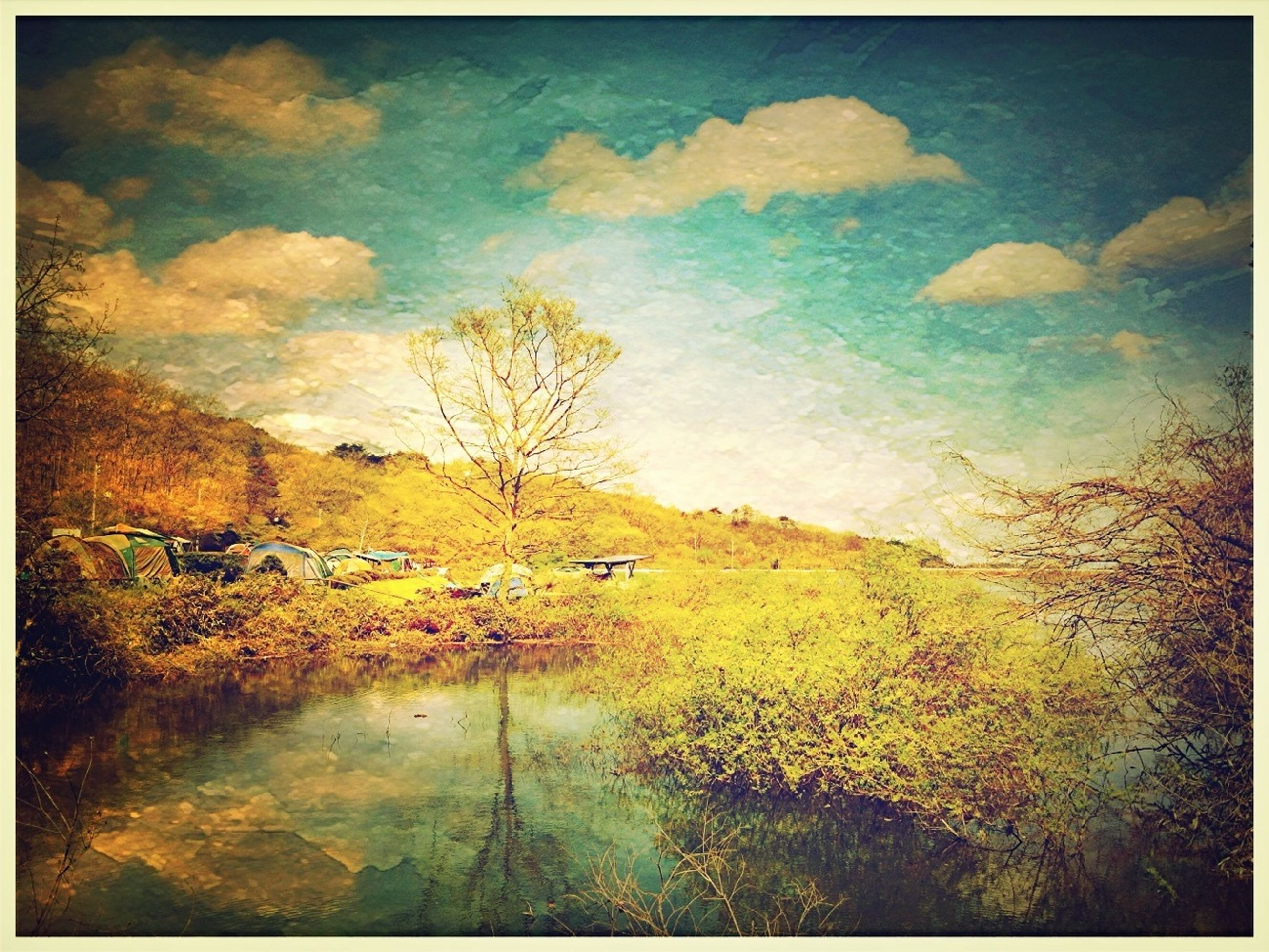 transfer print, auto post production filter, water, tranquility, sky, tranquil scene, beauty in nature, scenics, nature, high angle view, tree, cloud - sky, landscape, reflection, plant, outdoors, grass, day, no people, idyllic