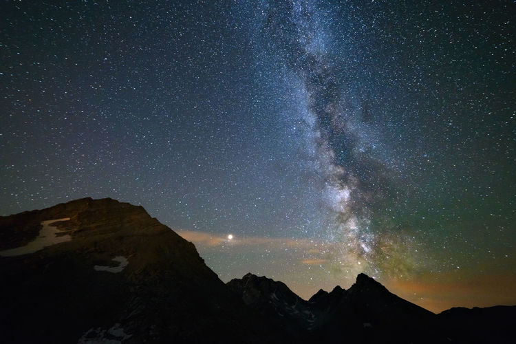 Astronomy Beauty In Nature Galaxy Idyllic Majestic Milky Way Mountain Mountain Peak Mountain Range Nature Night No People Non-urban Scene Outdoors Scenics - Nature Sky Space Star Star - Space Star Field Tranquil Scene Tranquility