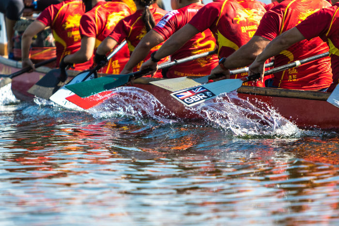 Team dragon boat racing in the UK Boats Competition Direction Dragon Boats Oars Rowing Rowing Boat Rowing Club Rowingboat Splash Sport Sucess Team Team Work Water Water Reflections