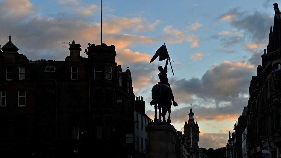 Grab shot Blue Sky Cloud Colour End Of The Day Hawick High St Horse Monument Statue Sunset