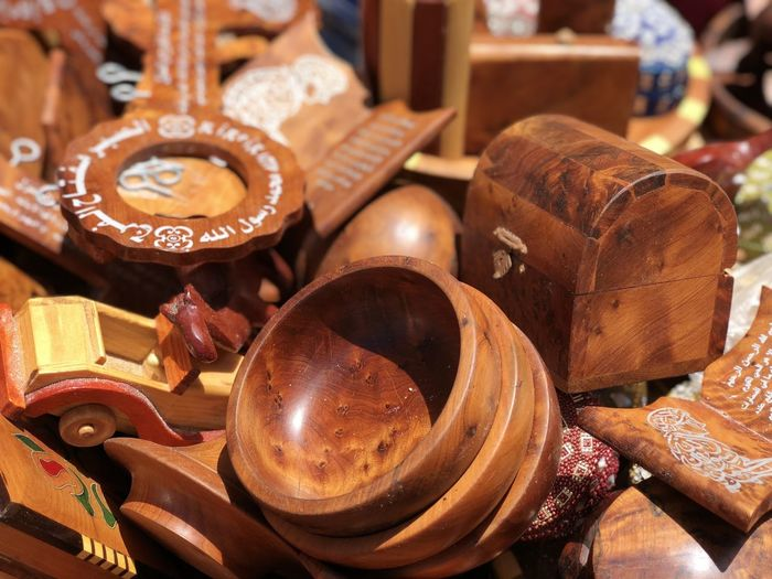 Close-up of wooden equipment for sale