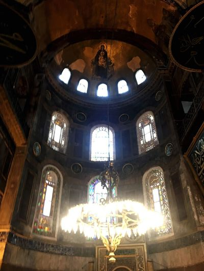 Church Hagia Sophia Jesus Built Structure Architecture Religion Belief Place Of Worship Indoors  Spirituality Skylight Architecture And Art Ceiling