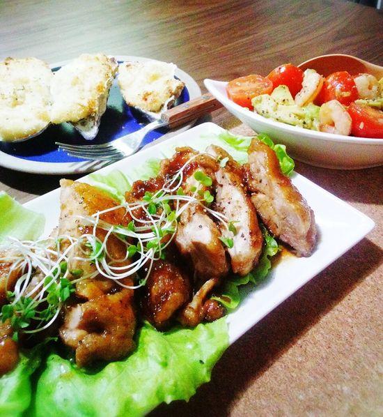 晩ごはん☆照り焼チキン・アボカドとプチトマトの サラダ・牡蠣グラタン Foodporn Food Dinner Table Japanese Food Oyster  Dinner Teriyakichicken Avokado Oyster