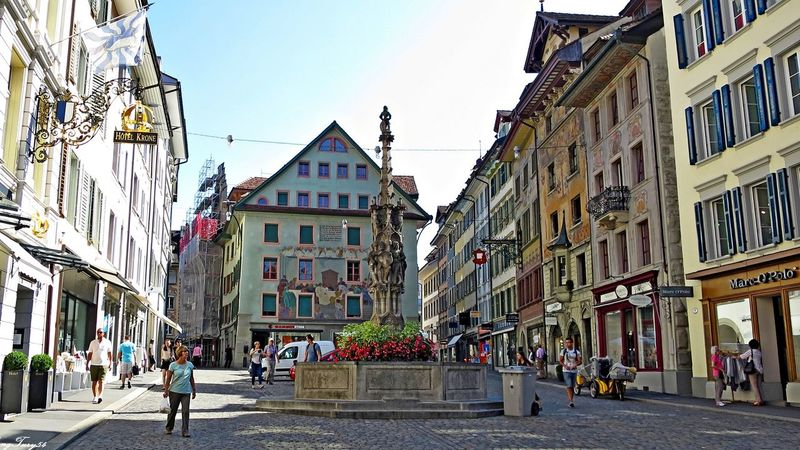 Streetview Architecture City City Life City Street Luzern Road Schweiz Switzerland