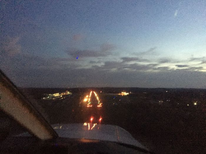 Landing RWY 18 Oxford, CT Airport Aviation Flying Night View In The Cockpit Nightphotography Aerial Shot Night Lights From An Airplane Window