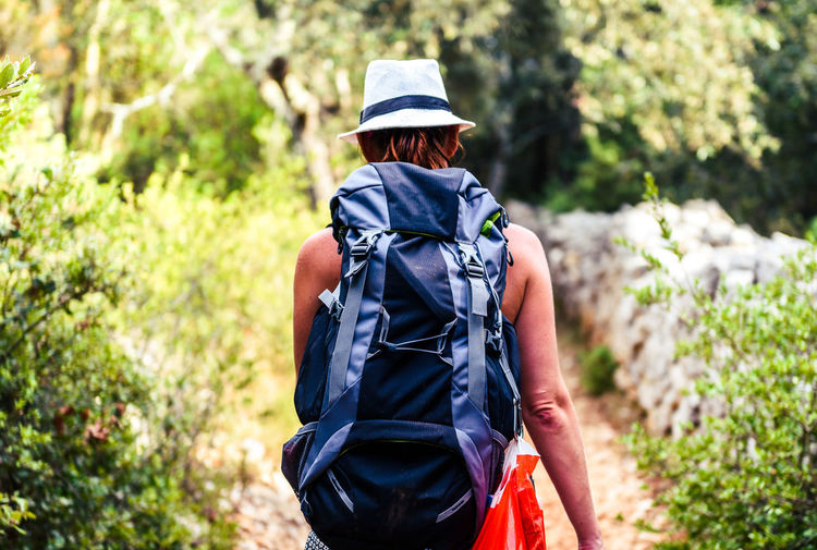Rear View Of Backpack Female Hiker Walking In Forest