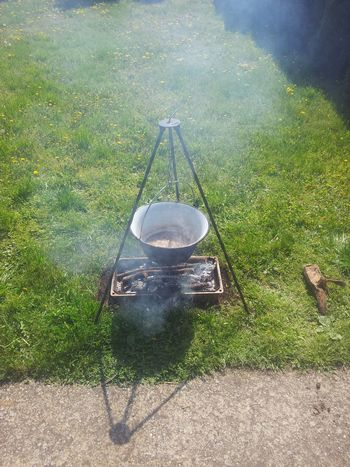 Outdoor cooking Cauldron Close-up Cooking Day Grass Nature No People Outdoors
