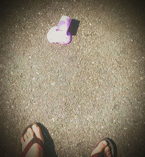 Photos By Jeanette Two Is Better Than One Flip Flops Pink And Brown Playdoh Splattered Feet Toes Purple Parking Lot Blacktop Dropped Damn Just My Luck Wtf Moment WTF Fashion Stories