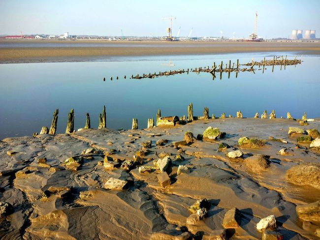 Sunny Afternoon Landscape_photography River View Estuary View Tidal Low Tide Sand Bank Rocks Old Ship Wreck Wooden Posts Channel Bridge Construction