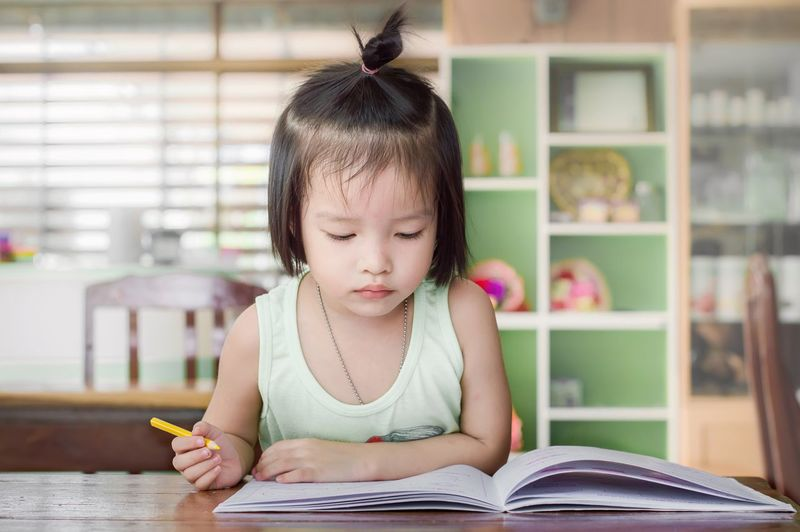 Girl Kid Education Homework Write Work Desk Drawing Pink Art Pencil Learn Cheerful Room Home Study Knowledge Table Paper Elementary Innocence Daughter Classroom Book Reading Lesson Sketching Scholar Examination Determined