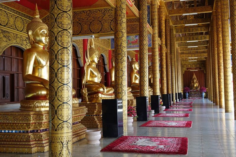 Find the Peace Thailand Chiang Mai Wat Ban Den Buddha Statues Buddha Architectural Column Religion Architecture Statue Gold Colored Spirituality Place Of Worship Travel Destinations Built Structure Gold Sculpture