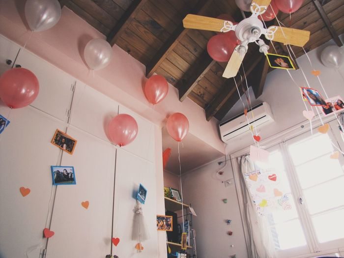 Millennial Pink Balloon Hanging Celebration Low Angle View No People Indoors  Party - Social Event Dining Table Helium Balloon Day Bday Surprise Photograph Cute Art Is Everywhere